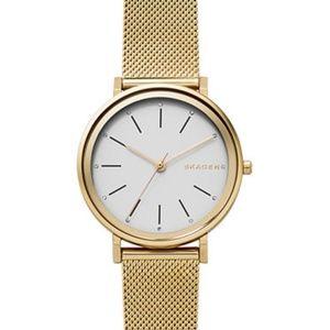 NWT Skagen Hald Ladies Gold Mesh Bracelet Watch